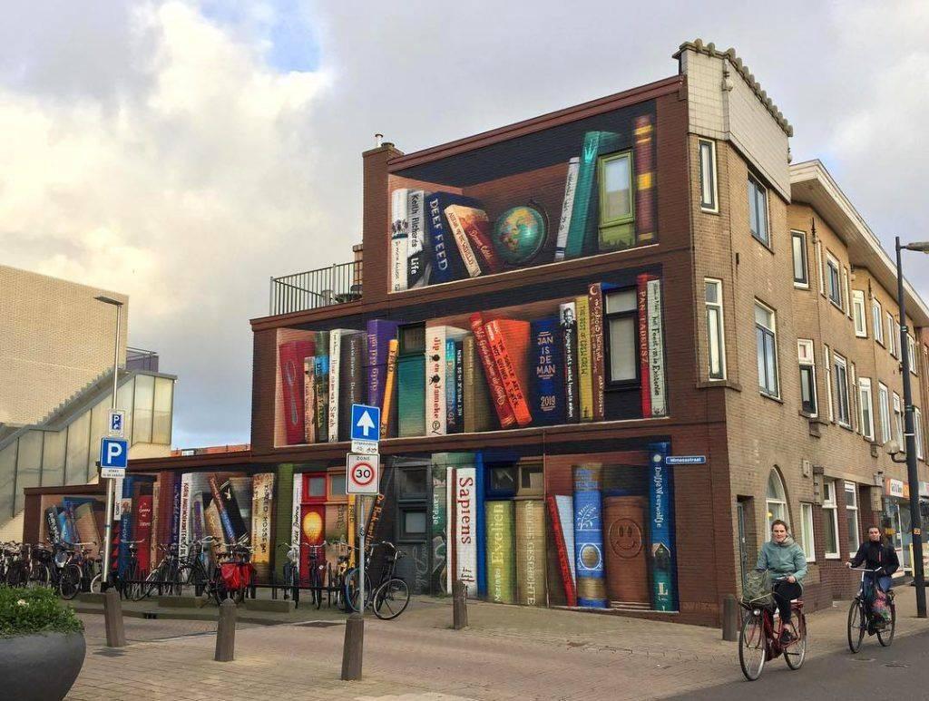 bibliothèque trompe L'oeil