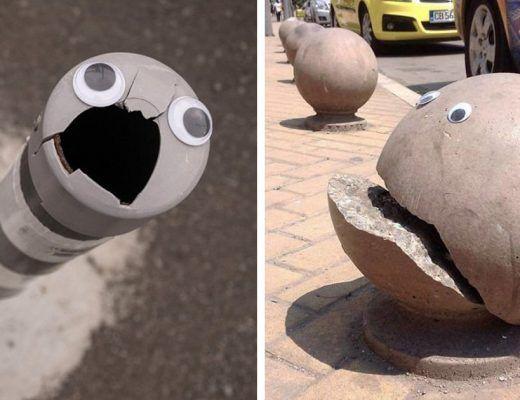 colle des yeux sur des objets