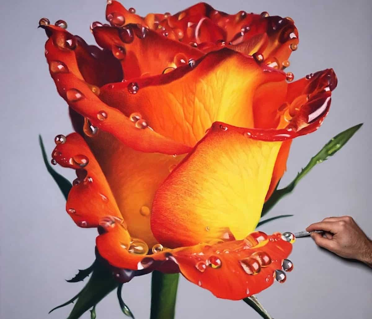 artiste dessine des fleurs