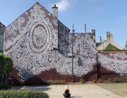 fresque murale de dentelle