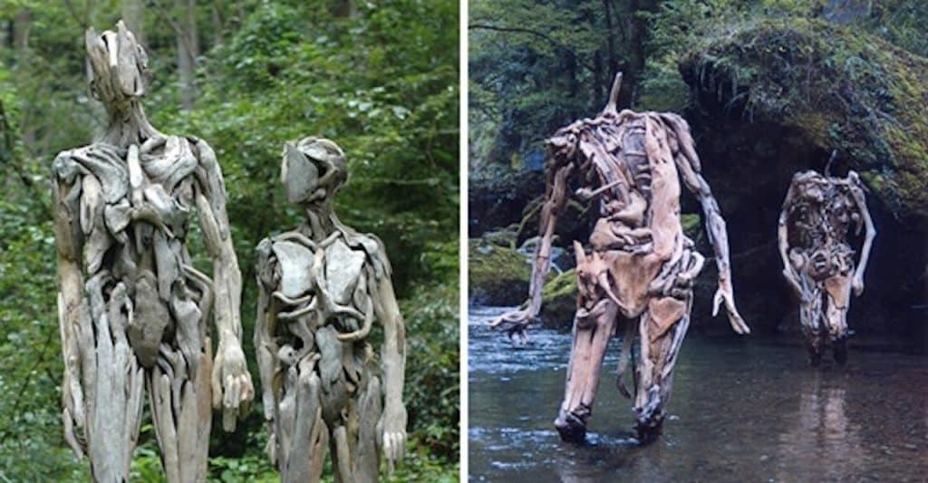 sculptures en bois flotté hantées