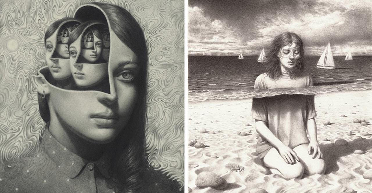 portraits au crayon graphite